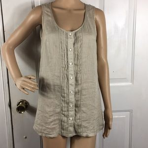 Tommy Bahama 100% linen button up sleeveless top